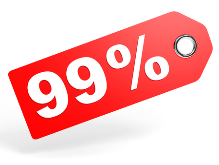 99: 99 percent red discount tag on white background. 3D illustration. Stock Photo