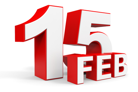 15: February 15. 3d text on white background. Illustration. Stock Photo