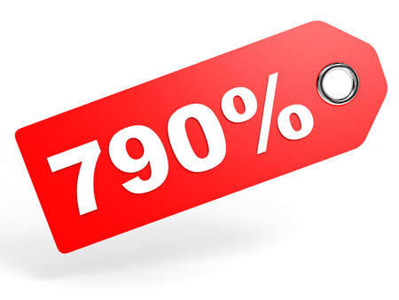 price hit: 790 percent red discount tag on white background. 3D illustration.