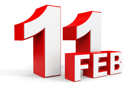number 11: February 11. 3d text on white background. Illustration.