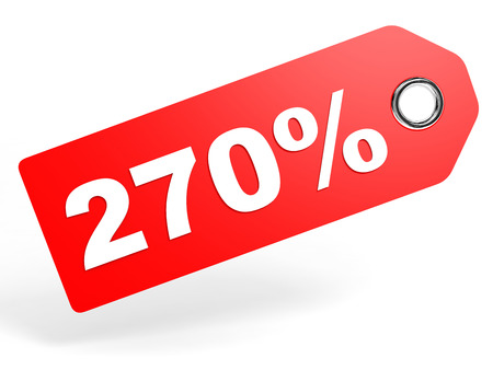 seventy two: 270 percent red discount tag on white background. 3D illustration.