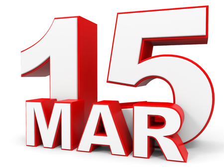 fifteenth: March 15. 3d text on white background. Illustration. Stock Photo