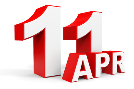 number 11: April 11. 3d text on white background. Illustration.