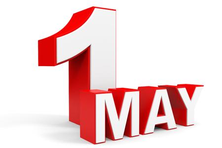 5 월 1 일입니다. 흰색 배경에 3d 텍스트입니다. 삽화.