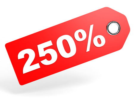 2 50: 250 percent red discount tag on white background. 3D illustration. Stock Photo