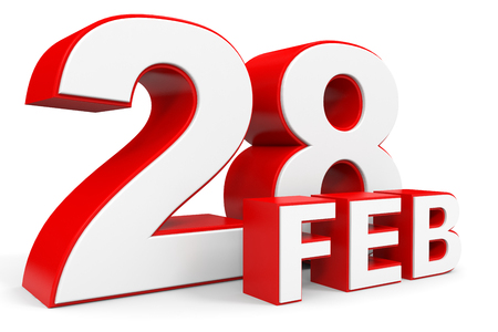 28. Februar 3D-Text auf weißem Hintergrund. Illustration.