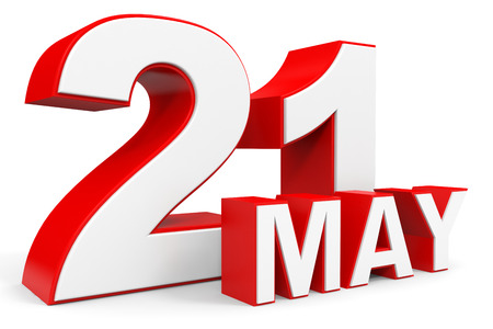 21: May 21. 3d text on white background. Illustration. Stock Photo