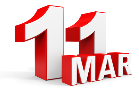 number 11: March 11. 3d text on white background. Illustration.