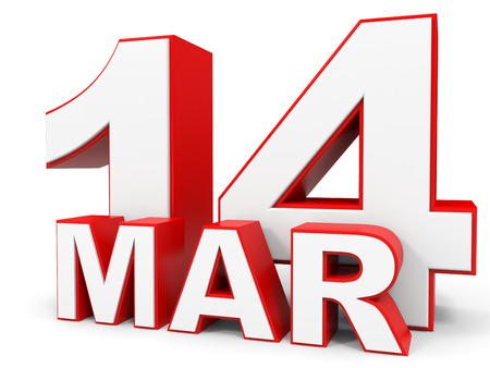 14: March 14. 3d text on white background. Illustration. Stock Photo