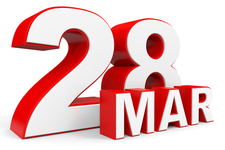 28: March 28. 3d text on white background. Illustration. Stock Photo