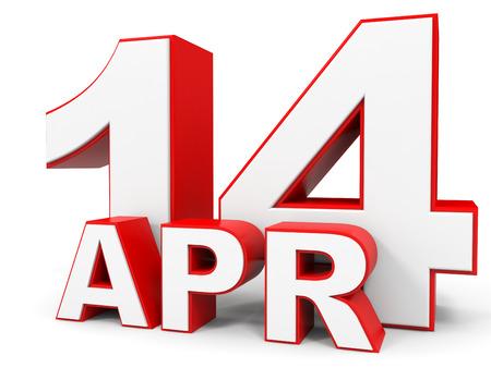 14: April 14. 3d text on white background. Illustration.