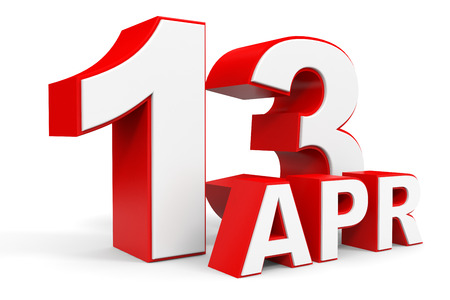 13th: April 13. 3d text on white background. Illustration. Stock Photo