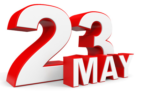 23: May 23. 3d text on white background. Illustration. Stock Photo