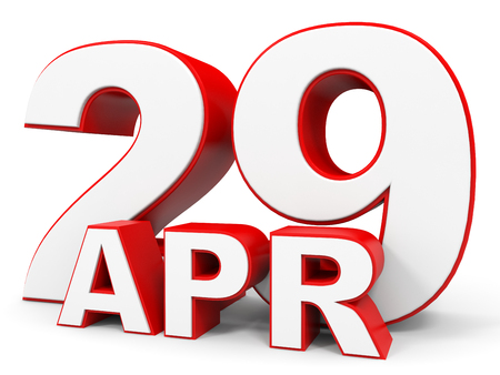 twenty ninth: April 29. 3d text on white background. Illustration.
