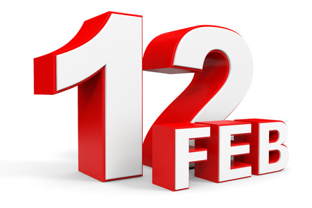 12: February 12. 3d text on white background. Illustration.