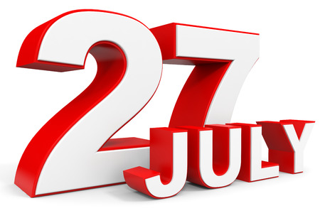 27: July 27. 3d text on white background. Illustration. Stock Photo