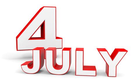 july 4: July 4. 3d text on white background. Illustration. Stock Photo