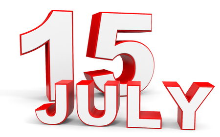 15: July 15. 3d text on white background. Illustration. Stock Photo