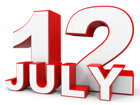 12: July 12. 3d text on white background. Illustration.
