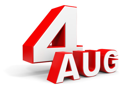 august: August 4. 3d text on white background. Illustration. Stock Photo