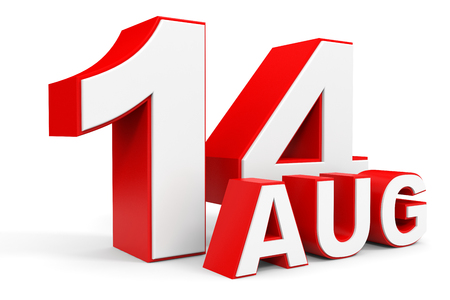 august: August 14. 3d text on white background. Illustration. Stock Photo