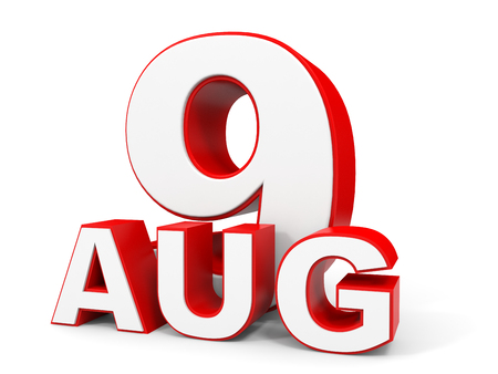 august: August 9. 3d text on white background. Illustration.