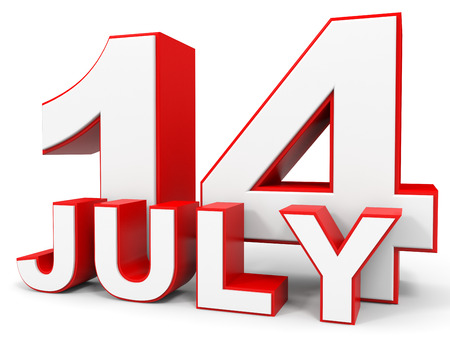 14: July 14. 3d text on white background. Illustration. Stock Photo
