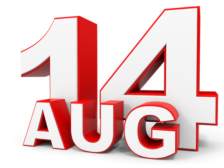 14: August 14. 3d text on white background. Illustration. Stock Photo