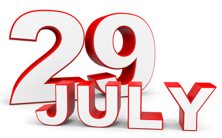 twenty ninth: July 29. 3d text on white background. Illustration.