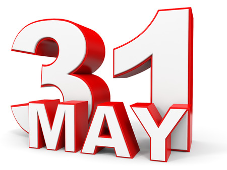 31th: May 31. 3d text on white background. Illustration.