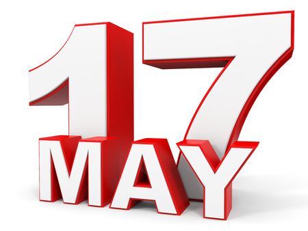 17th: May 17. 3d text on white background. Illustration.