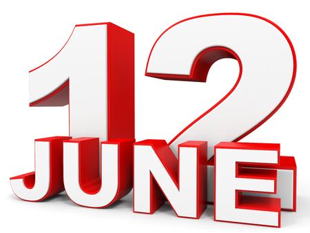 12: June 12. 3d text on white background. Illustration.