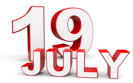 19: July 19. 3d text on white background. Illustration.