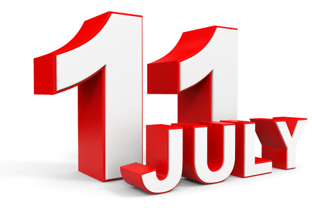11 number: July 11. 3d text on white background. Illustration. Stock Photo