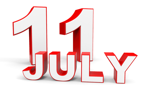 eleventh: July 11. 3d text on white background. Illustration. Stock Photo