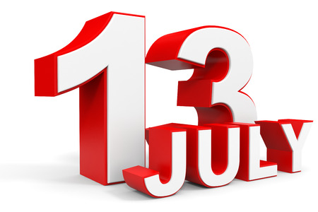 13th: July 13. 3d text on white background. Illustration.