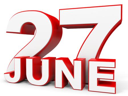 seventh: June 27. 3d text on white background. Illustration.