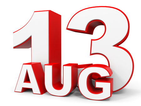 number 13: August 13. 3d text on white background. Illustration.