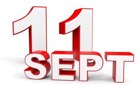 number 11: September 11. 3d text on white background. Illustration. Stock Photo
