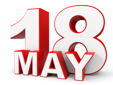 18th: May 18. 3d text on white background. Illustration.