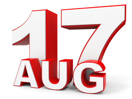 seventeenth: August 17. 3d text on white background. Illustration.