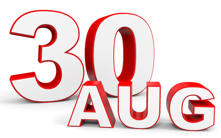 the 30: August 30. 3d text on white background. Illustration. Stock Photo