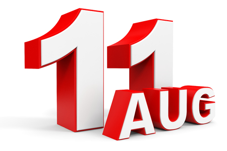 number 11: August 11. 3d text on white background. Illustration.