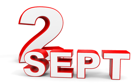 september 2: September 2. 3d text on white background. Illustration.