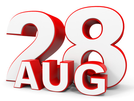 august: August 28. 3d text on white background. Illustration.