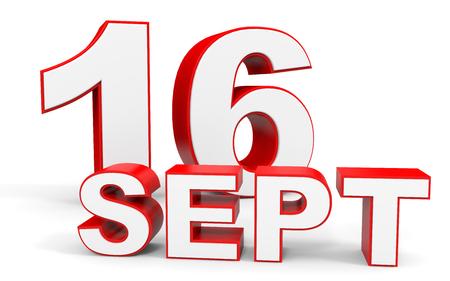 september: September 16. 3d text on white background. Illustration. Stock Photo