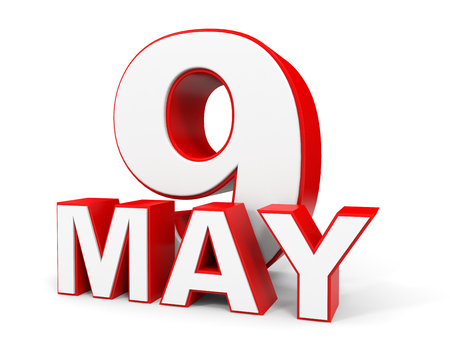 may 9: May 9. 3d text on white background. Illustration.