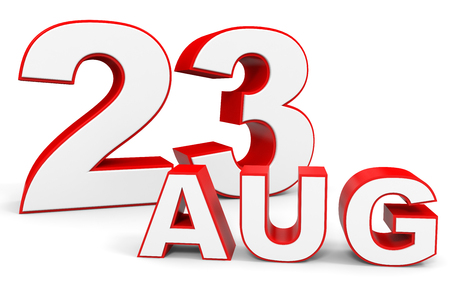 august: August 23. 3d text on white background. Illustration.