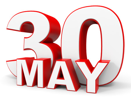 the 30: May 30. 3d text on white background. Illustration. Stock Photo