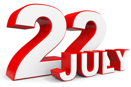 twenty second: July 22. 3d text on white background. Illustration. Stock Photo